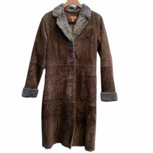 Danier Long Brown Suede Winter Coat